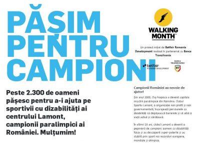 """Walking Month 2018 - """"pășim pentru campioni"""""""